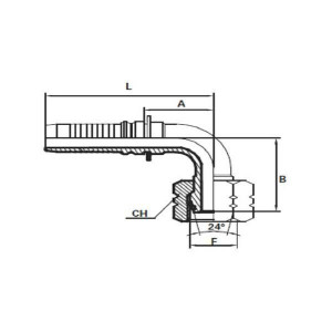 Embout Interlock femelle 90° DIN 24° DKOS